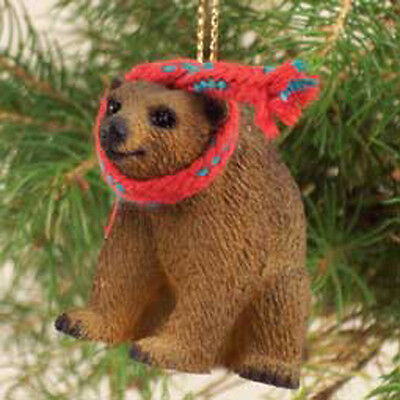 BROWN BEAR with Scarf Tiny One Miniature Christmas ORNAMENT
