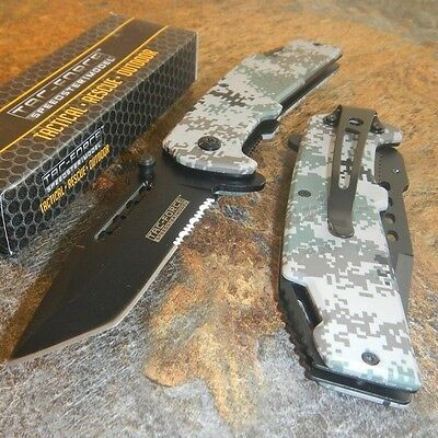 TAC-FORCE Military Digital Camo Tanto Spring Assisted Open Tactical Pocket Knife