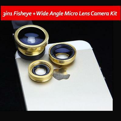 3in1 Fisheye + Wide Angle Micro Lens Camera Kit for Phone Gold Color T