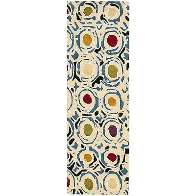 Safavieh Handmade Soho Modern Abstract Ivory/ Multi Wool Runner Rug (2' 6 x 10')