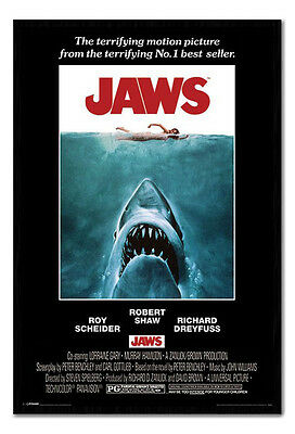 Framed Jaws The Movie 1975 Official One Sheet Style Poster New
