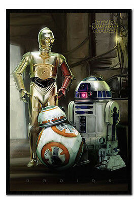 Framed Star Wars Episode 7 The Force Awakens Droids Official Poster New
