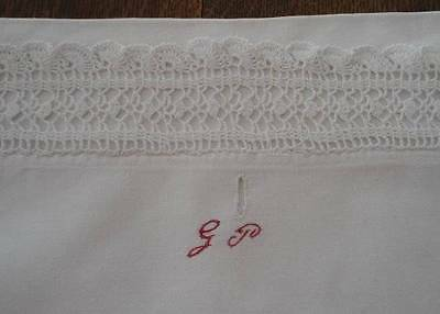 Antique Lingerie Case Red Monogram G Crochet Lace Pillow Cover German Embroidery