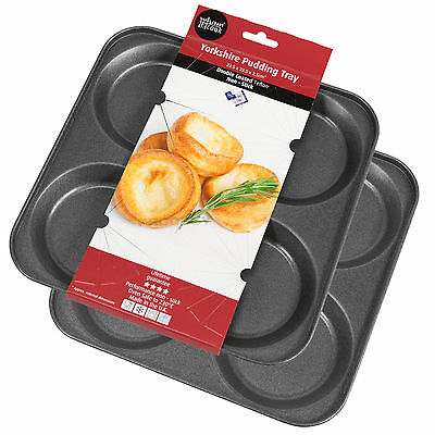 2 x Yorkshire Pudding Trays 4 Cup Teflon Non-Stick Steel Oven Roasting Tins