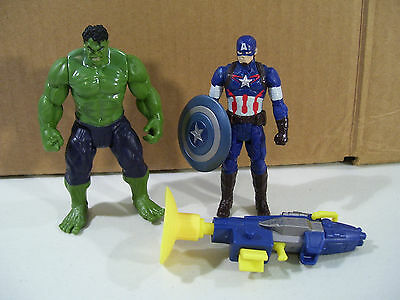 Lot Of 2 Age Of Ultron Action Figures Captain America & Incredible Hulk 2015