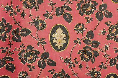 Antique French printed fabric red black floral c 1880 Arts & Crafts