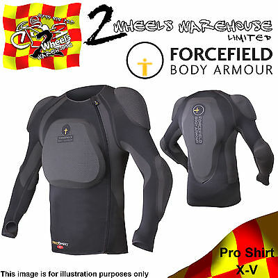 Forcefield Pro Shirt X-V Upper Body Armour With Spine Back Chest Arm Protection