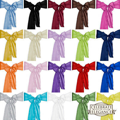 100 Satin Chair Cover Bow Sashes Wedding Party Decoration