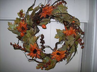 "22"" Sunflower/Acorn Wreath - Beautiful Fall Colors"