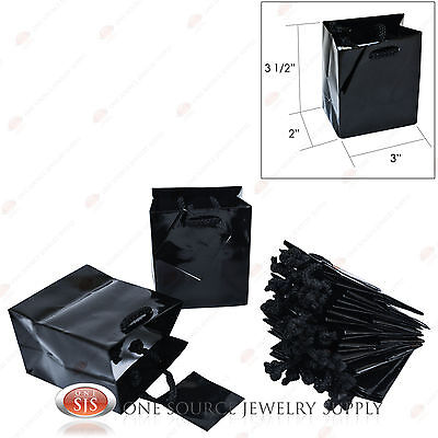 """12 Solid Glossy Black Finish Paper Tote Gift Merchandise Bags 3"""" x 2"""" x 3 1/2""""H"""