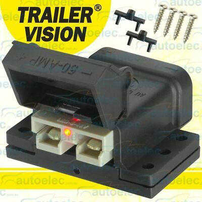 Trailer Vision 50A Amp Led Anderson Plug Compatible Connector + Mounting Kit Sc