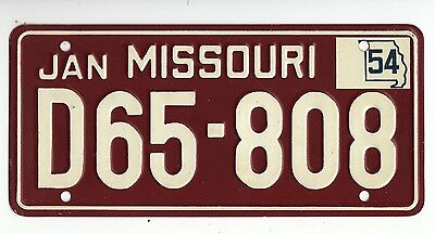 [56433] 1954 General Mills Cereal Prize Missouri License Plate