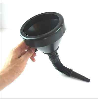 Black Plastic Flexible Funnel With Mesh Screen for Water Oil Fuel Petrol Diesel