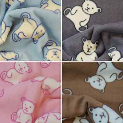 Polar Fleece Anti Pil Fabric Cuddly Teddy Bear Kids Scatter Colour Background