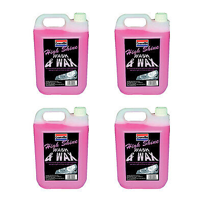 4 x Granville High Shine Wash & Wax Car Wash Shampoo Carnauba Polish Wax 5 Litre