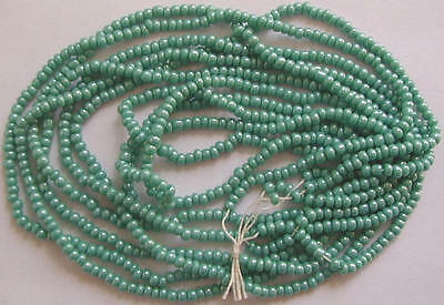 TURQUOISE BLUE with KISS of SHINE VINTAGE SEED BEADS LOT HANK