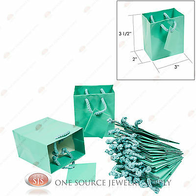"""12 Glossy Teal Blue Finish Paper Tote Gift Merchandise Bags 3"""" x 2"""" x 3 1/2""""H"""