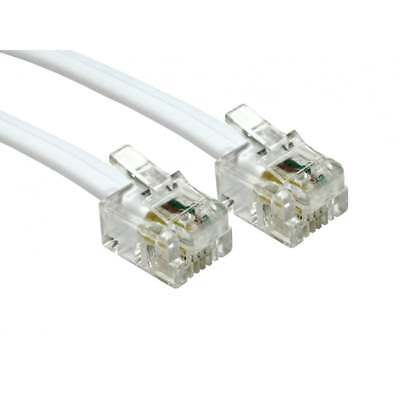 15m Metre RJ11 To RJ11 Cable Lead 4 Pin ADSL Router Modem Phone 6p4c WHITE Long