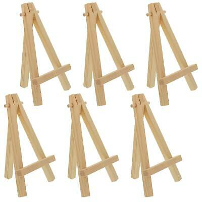 "6 Pack of Mini Wood 5"" Tabletop Art Craft Display Easels NATURAL Wooden Finish"