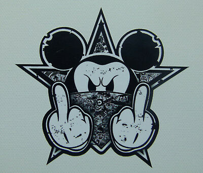 2 Stickerbomb black Oldschool Mickey Sticker Aufkleber Biker Autoaufkleber Comic