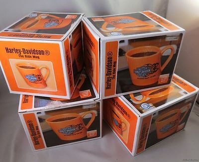 WHOLESALE BOX LOT OF 4 HARLEY MOTORCYCLE COFFEE MUGS 2007 dated biker orange HD