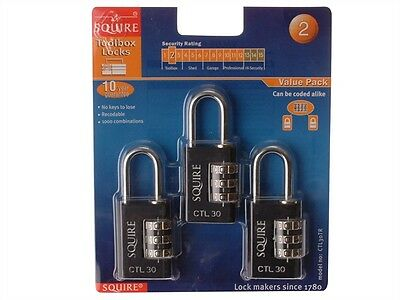 Henry Squire CTL30TR Recodeable Black Combination Padlock Lock 30mm Pack of 3 Ba