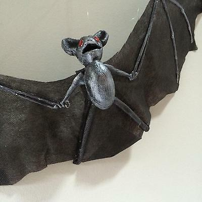 """Large Black Silver Accent Bat Hanging Halloween Prop 21"""" Wingspan New"""