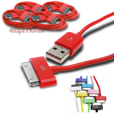 4X 3Ft Usb 30Pin Red Cable Data Sync Charger Samsung Galaxy Tab 7.0 8.9 10.1