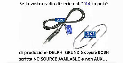 "KIT cavo aux Fiat Qubo e 500 dal 2015 radio Bosch ""no source available"" da 1,4mt"