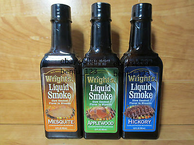 3 Wright's Concentrated Seasoning Liquid Smoke *UPick Mesquite Applewood Hickory