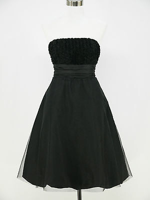 dress190 CLEARANCE BLACK ROSE STRAPLESS 50s COCKTAIL PROM PARTY EVENING DRESS