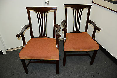 2 Bright Chair Furniture dining CHIPPENDALE Occasional Mahogany Guest Arm Chairs