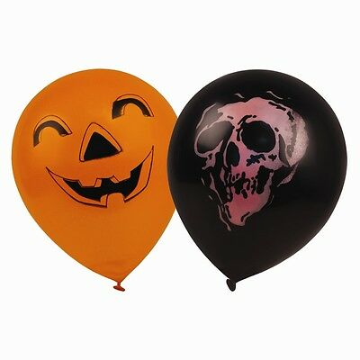 24 x Halloween Party Balloons Trick or Treat Orange Black Pumpkin Scary Balloon
