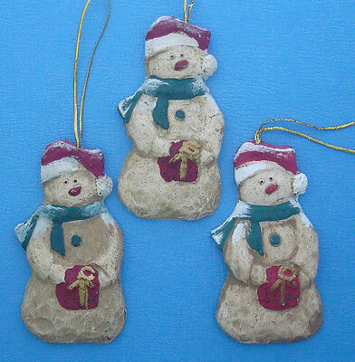 """set of 3 rustic Christmas snowman ornaments 4"""" tall hand painted"""