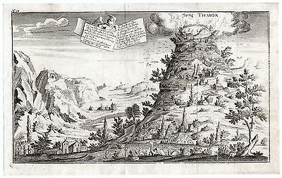 Rare Antique Print-MOUNT TABOR-GALILEE-CHRISTIAN HISTORY-Bunting-1754
