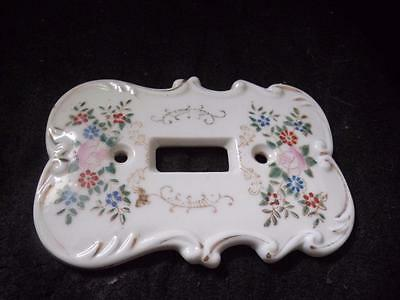 "Vintage Porcelain Switch Plate Floral Design 5"" X 4.25"""