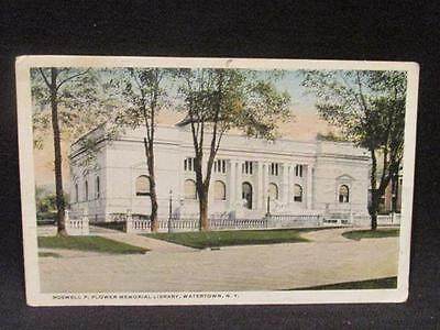 Watertown NY Roswell P Flower Memorial Library Postcard 1913 Watertown Cancel