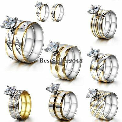 Round Cut CZ Stainless Steel Engagement Wedding Ring Set Bridal Women's Size 6-9