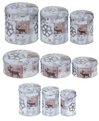 Christmas Reindeer Kitchen Cake Cookie Storage Tin Gift Box Barrel Canister Tray