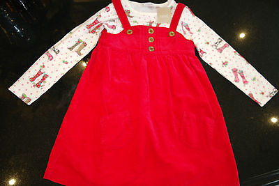 BNWT NEXT Red Cord Pinafore Dress and Welly Boot Print Cotton Top Set 4-5 yrs