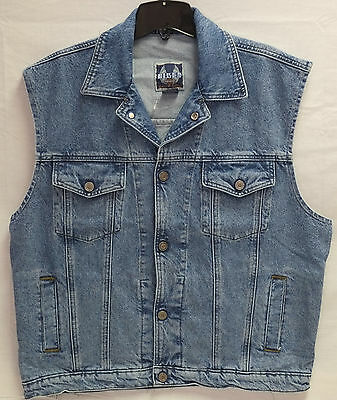 Harley-Davidson Men's Sleeveless Blue Denim Biker Blues Vest Jacket Button Up L