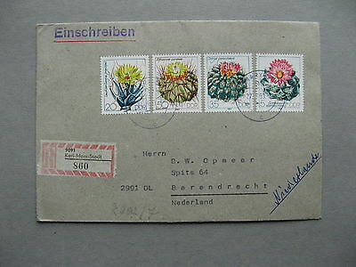 GERMANY DDR, R-cover (Karl Marx Stadt) to the Netherlands 1983, cactus flower