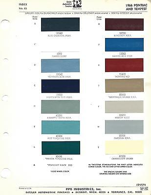 1966 Pontiac And Tempest Paint Chips (Ditzler)