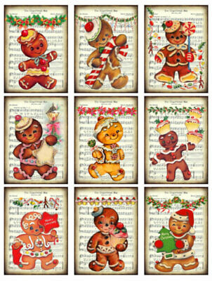 Vintage Image Retro Gingerbread Men Christmas Labels Waterslide Decals CHR227