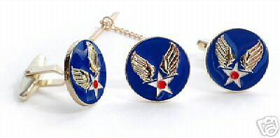 Army Air Corps Color Tie Clip + Cufflinks  Boxed Set