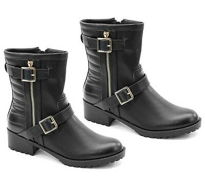 Bolaro Black Ankle Combat Boots Quilted Low Heel Lug Sole Women's shoes