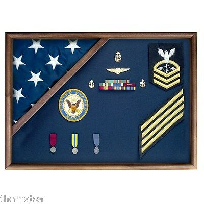 Usa Made Walnut Wood Memorial Flag Folded Corner Display Case Shadow Box