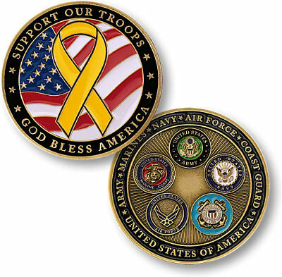 Support Our Troops Yellow Ribbon New Big Challenge Coin