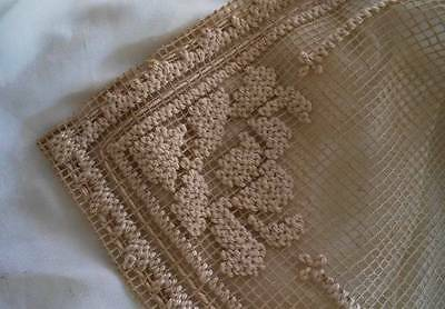 Vintage Italian Filet Net Lace Table Runner Darned Embroidered 34""