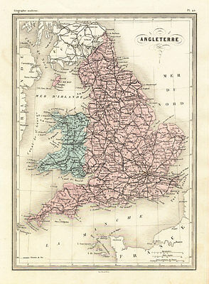 Antique Map-ENGLAND-WALES-BRITAIN-Malte-Brun-Sarrazin-1880